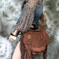 Brown leather bag  distressed  hobo tribal bird swallow bohemian boho festival  purse sweet smoke free people distressed bag moroccan