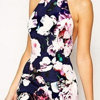 Navy Blue Pink Purple White Floral Sleeveless Halter Cut Out Back Bodycon Mini Dress