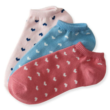 3-Pack Ditsy Heart Ankle Socks - Aeropostale