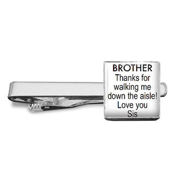 BROTHER Thanks for walking me down the aisle Love you Sis - Gift from Sister to Brother of Bride - Keyring or Tieclip - Wedding Accessory