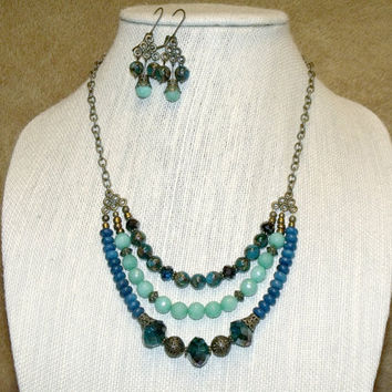 Bohemian Mixed Bead Triple Strand Necklace and Chandelier Earrings blue green bronze