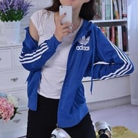 """Adidas"" Women Fashion Hooded Zip Cardigan Jacket Coat Sweatshirt H"