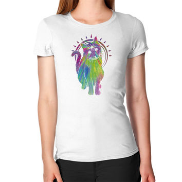 Psychic psychedelic trippy cat Women's T-Shirt