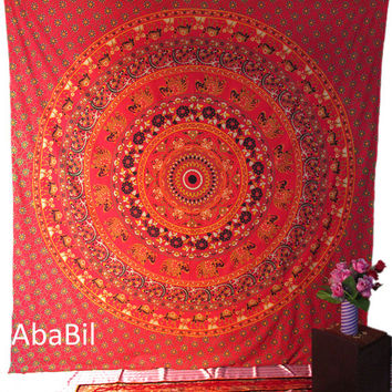 Red Queen Size Indian Elephants Barmeri Mandala Printed Cotton Tapestry Wall Hanging Hippie Bedspread Throw Home Decorative Art