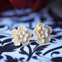 frosted hibiscus indie earrings in cream