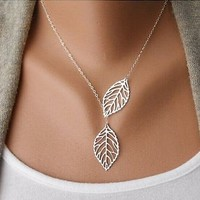 New Fashion Women Leaf Pendant Charm Gold /Silver Plated Chain Necklace