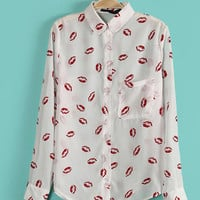 Europe Long Sleeve Red Lips Chiffon