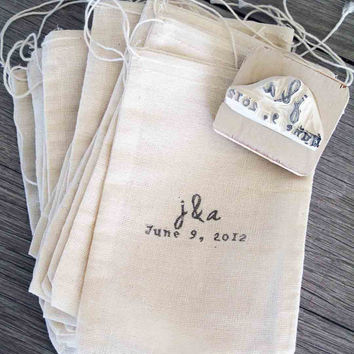 Custom Wedding Favor Bags and Rubber Stamp Set of 100 by LetterKay