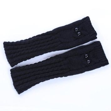 2016 New Fashion Knitted Warm Women Gloves Owl Solid Winter Spring Fingerless Gloves Mittens For Women Girls Gants Femme