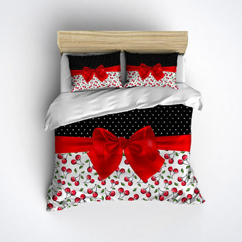 Fleece Rockabilly Bedding - with Cherries and Pin Polka Dot Design - Rockabilly Bed Linens, Bed Set, Cherries Bedding