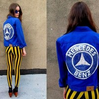 MERCEDES BENZ Ralph Lauren Bright Blue Sequined DIY Jacket