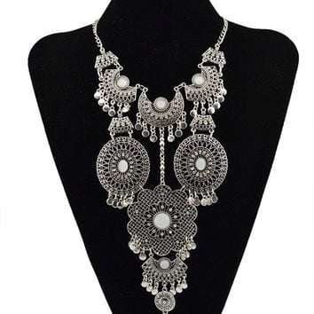 New Fashion Turkish Gypsy Bohemian Gold Silver Plated Alloy Round Flower Pendant Hollow Long Tassel Pendant Necklace = 1928366276