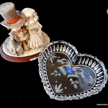 Heart Tray, Heart Glass Dish, Wedding Bells, Candy Dish, Glass Heart, Bells