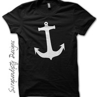 Women's Anchor Shirt - Kids Pirate Birthday Party / White Anchor Black Shirt / Girls Nautical Tshirt / Gym Active Wear Clothing / Boys Tee