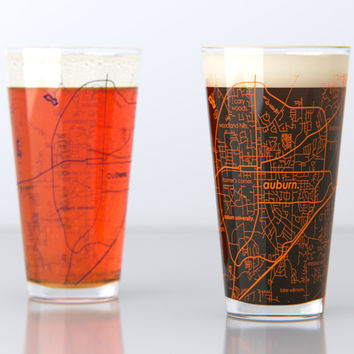 Auburn, AL - Auburn University - College Town Map Pint Glass Set