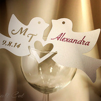 Two Love Birds | Wedding Place Cards | Personalized place card | Wedding love birds | Custom couple initials and date | Wine glass decor
