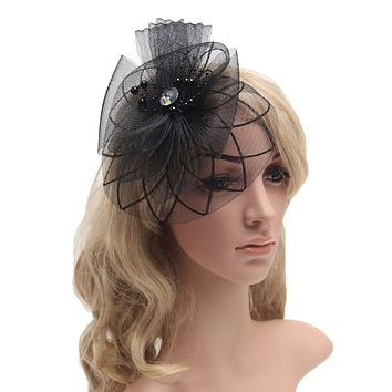 c84cde79f265f 2016 Retail Wedding Holiday Fascinator Cocktail Hat For Women French  Veiling Hair Headband Vintage Fashion Lady