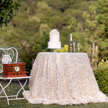 Champagne Petals and Gold Sequins Tablecloth
