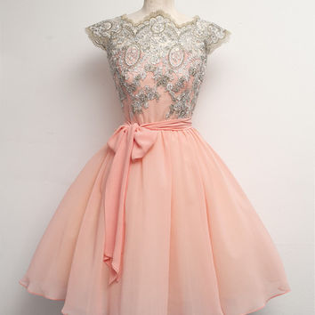 Homecoming Dress,Chiffon Beadings Elegant Short Prom Dress
