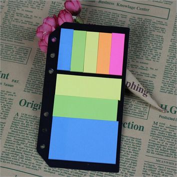 B5A5A6 Planner Accessory Colored Post-it N 6 Holes Binder Sticky Notes Diario Office School Supplies Planner Spiral Memo Pads