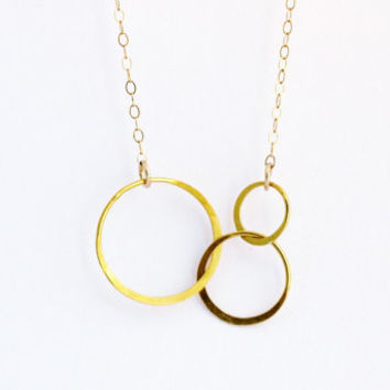 Entwined Gold Circles Necklace - Three Linked Bronze Circles on Gold Filled Chain