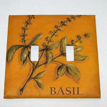 Double Light Switch Cover - Light Switch Plate Basil Kitchen Decor
