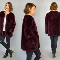 vtg 80's FAUX FUR oversized berry shiraz avant garde grunge modern collarless COAT, extra small-large