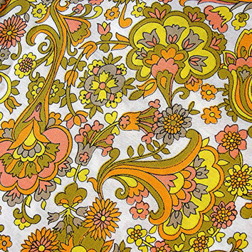 "1960s Vintage Paisley Fabric Colorful Mod Floral Fabric Orange Yellow Pink Flowers 37"" wide"