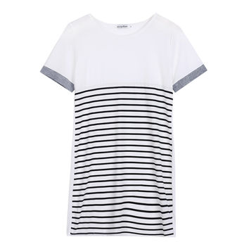 Women's Casual Ladies Cotton T Shirt Striped Long Tee Shirt Mini Dress