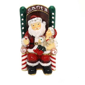 Hinged Trinket Box SANTA IN CHAIR WITH CHILD Metal Enameled Christmas 3615