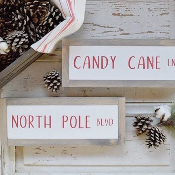 Candy Cane Lane Street Sign - Red