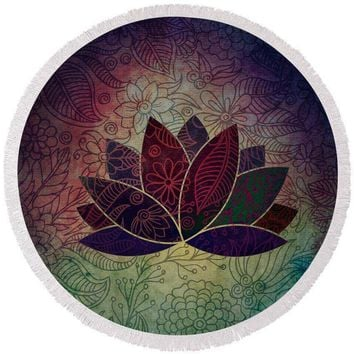 Reiki Charged Lotus Chakra Art - Round Beach Towel Yoga Mat Soft Yoga Mat