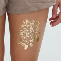 Twin Rose - Metallic Gold Rose Flower Temporary Tattoo (Set of 2)