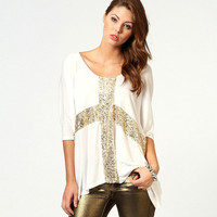 Low Neck Cross Sequined Loose Fit Top