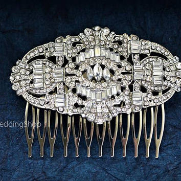 Sale - Bridal Hair Comb Silver  Wedding Hair Comb Art Deco Bridal Hairpiece Gatsby Wedding   Bridal Headpiece Bridal Hair Accessories