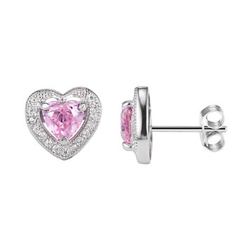 Sterling Silver Solitaire Pink Ruby Open Heart Iced Out Push Back Stud Earrings
