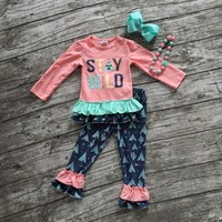 """Fall/winter baby clothes boutique outfits """"stay wild"""" clothing pant long sleeves sets with matching bow and necklaceset"""