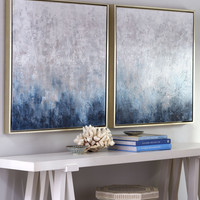 """""""Frost on Sapphire"""" Paintings, 2-Piece Set - Neiman Marcus"""