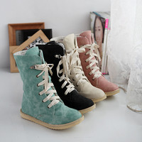 Woman Suede Ankle Snow Boots