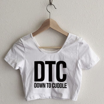 DTC - Down to Cuddle Typography Women's Crop Top