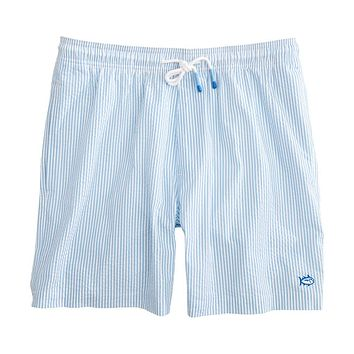 Seersucker Swim Trunk in Ocean Channel by Southern Tide