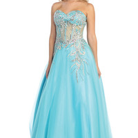 Sheer Corset Ball Gown Prom Dress in Aqua