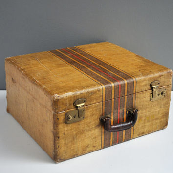 Antique Striped Suitcase - Square