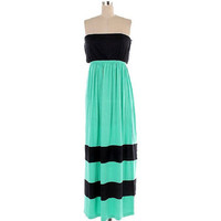 Mint and Black Strapless Maxi Dress