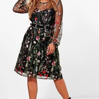 Plus Tilly Heavy Embroidered Midi Dress | Boohoo