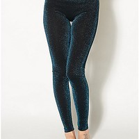 Teal Metallic Leggings - Spencer's