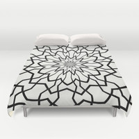 Black and White Kaleidoscope  Duvet Cover by KCavender Designs
