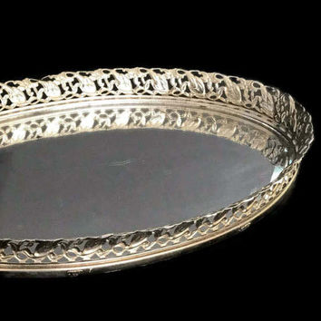 Vintage Mirrored Vanity Tray Oval Goldtone Metal Hollywood Regency Perfume Tray Dresser Jewelry Tray