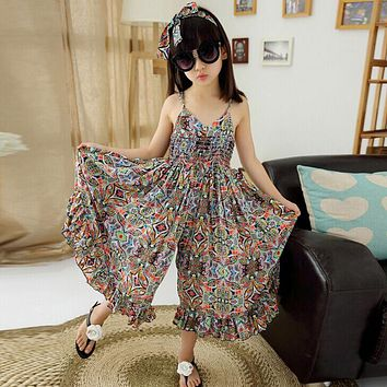 Bohemian Dress for Girls Fashion Print Clothing Children Beach Dress Floral V-neck Sleeveless Dress Jumpsuits