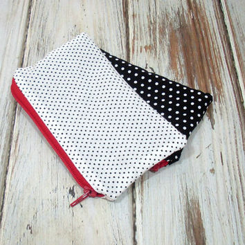 White and Black Polka Dot Change Purse, Coin Zipper Bag, Red Zipper Close